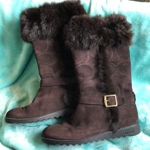 Brown Coach Boots Size 7-8